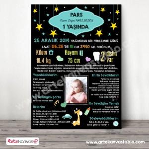 1 Yaş Doğum Günü Panosu Yıldız Temalı 017