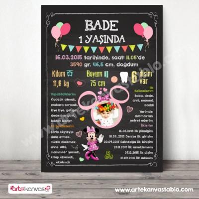 1 Yaş Doğum Günü Panosu Minnie Mouse Temalı 039