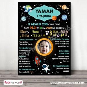 1 Yaş Doğum Günü Panosu Uzay Temalı 072