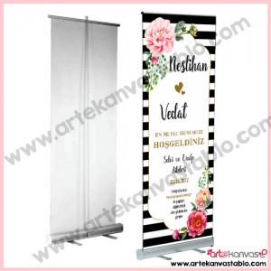 Roll Up Banner Düğün Nişan Misafir Karşılama 85x200 cm