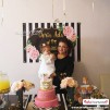 Doğum Günü Pano / Branda Afiş Çiçek Altın Temalı