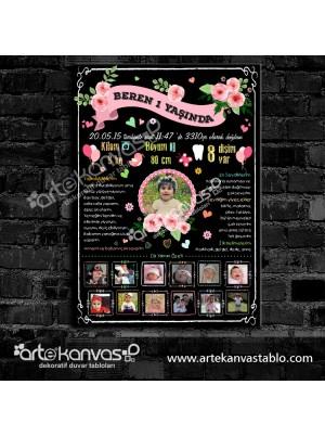 1 Yaş Doğum Günü Panosu Çiçek Temalı 061
