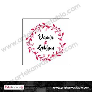 Etiket - Sticker - Karton Çiçek Tema 5x5 cm 50 adet