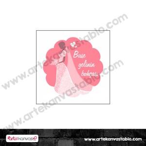 Etiket - Sticker - Karton Gelinlik Tema 5x5 cm 50 adet