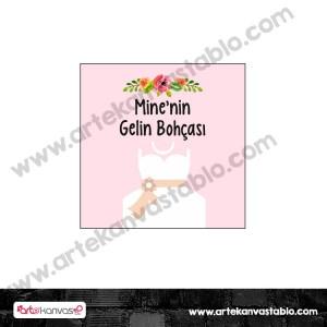 Etiket - Sticker - Karton Gelin Bohçası Tema 5x5 cm 50 adet