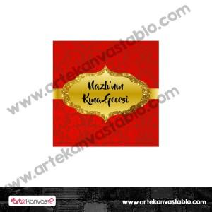 Etiket - Sticker - Karton Kına Tema 5x5 cm 50 adet
