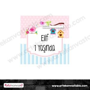 Etiket - Sticker - Karton Kuş Tema 5x5 cm 50 adet