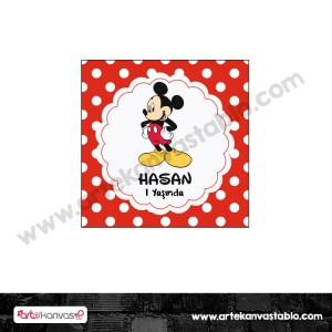 Etiket - Sticker - Karton Mickey Mouse 5x5 cm 50 adet