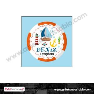 Etiket - Sticker - Karton Denizci Tema 5x5 cm 50 adet
