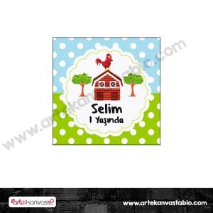 Etiket - Sticker - Karton Çiftlik Tema 5x5 cm 50 adet