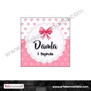 Etiket - Sticker - Karton Fiyonk Tema 5x5 cm 50 adet
