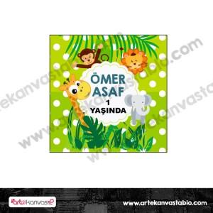 Etiket - Sticker - Karton Safari Tema 5x5 cm 50 adet