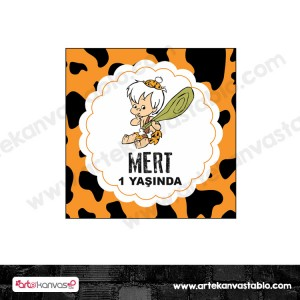 Etiket - Sticker - Karton Taş Devri Bambam Tema 5x5 cm 50 adet