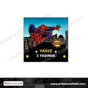 Etiket - Sticker - Karton Örümcek Adam Konsept 5x5 cm 50 adet