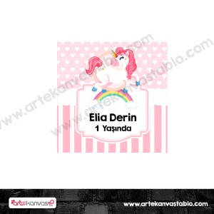 Etiket - Sticker - Unicorn Little Pony Tema 5x5 cm 50 adet