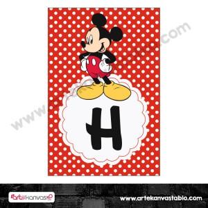 Harf Banner Bayrak Flama Mickey Mouse Temalı 15x20 cm