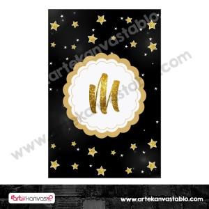 Harf Banner Bayrak Flama Yıldız Temalı Twinkle Little Stars 15x20 cm