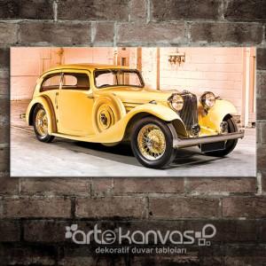 Retro Sarı Otomobil Kanvas Tablo