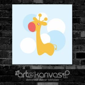 Zürafa Mavi Çocuk Odası Kanvas Tablo