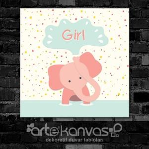 Fil Kız Çocuk Odası Kanvas Tablo