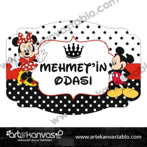 Mickey Minnie Mouse Çocuk Bebek Odası 35x50 cm Kapı Süsü 201K
