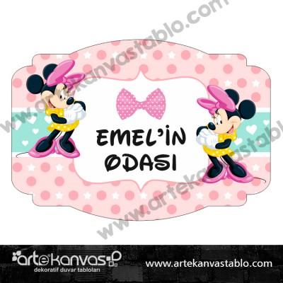 Minnie Mouse Çocuk Bebek Odası 35x50 cm Kapı Süsü 202K
