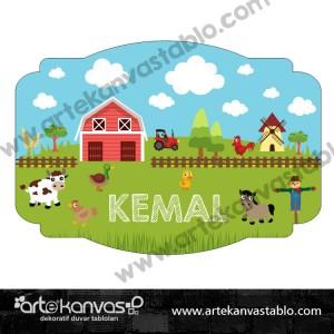 Çiftlik Çocuk Bebek Odası 35x50 cm Kapı Süsü 203K