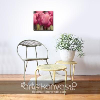 Pembe Çiçekler Kanvas Tablo