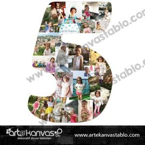 5 Yaş Rakam Kolaj Ayaklı Pano