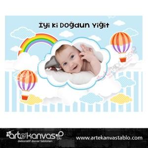 Sıcak Hava Balon Temalı Doğum Günü Pano/Branda Afiş