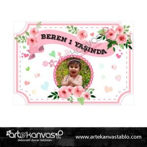 Çiçek Temalı Doğum Günü Pano/Branda Afiş