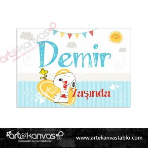 Snoopy Temalı Doğum Günü Pano/Branda Afiş