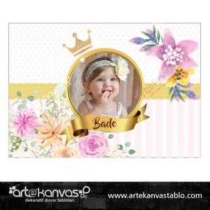 Altın Çiçek Temalı Doğum Günü Pano/Branda Afiş