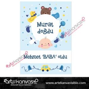 Bebek Temalı Doğum Günü Pano/Branda Afiş