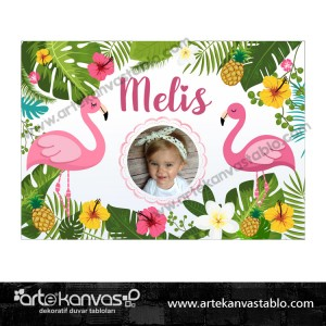 Flamingo Ananas Temalı Doğum Günü Pano/Branda Afiş