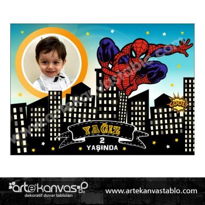 Spiderman Temalı Doğum Günü Pano/Branda Afiş