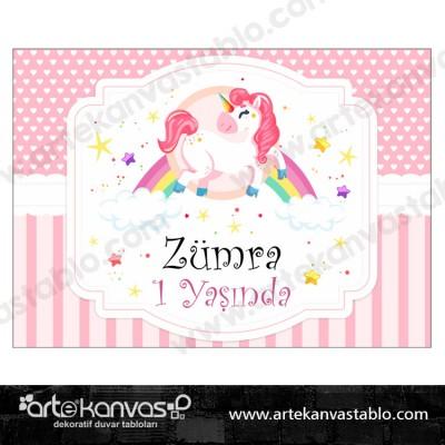Doğum Günü Pano / Branda Afiş Little Pony Unicorn Temalı
