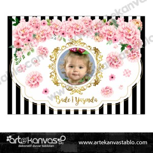 Çiçek Altın Temalı Doğum Günü Pano/Branda Afiş