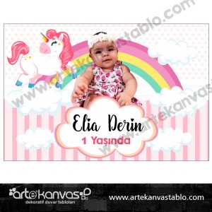 Unicorn Temalı Pano/Branda Afiş Little Pony
