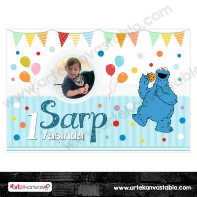 Doğum Günü Pano/Branda Afiş Kurabiye Canavarı Cookie Monster Temalı