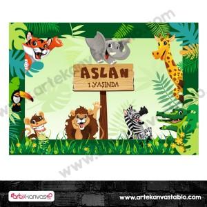 Doğum Günü Pano / Branda Afiş Safari Hayvanlar Temalı