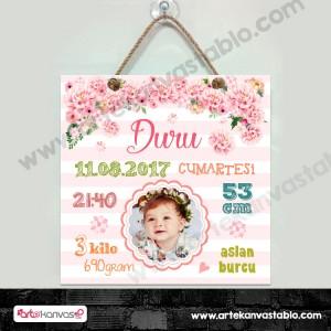 Bebek Doğum Hatırası Pembe Çiçekler