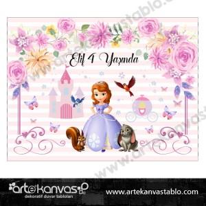 Doğum Günü Pano/Branda Afiş Prenses Sofia Temalı