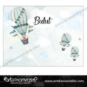 Doğum Günü Pano / Branda Afiş Sıcak Hava Balonu Bulut Ayıcık Temalı