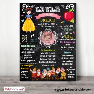 1 Yaş Doğum Günü Anı Panosu Pamuk Prenses ve 7 Cüceler 105
