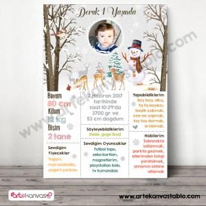 1 Yaş Doğum Günü Anı Panosu Kış Kar Snow Konsept 0107