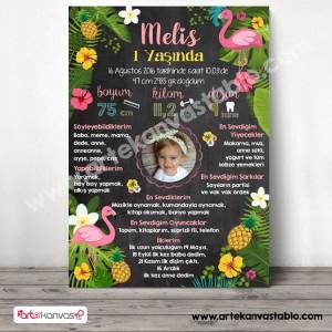 1 Yaş Doğum Günü Anı Panosu Flamingo ve Ananas 096