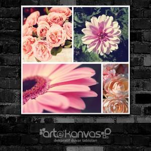 Vintage Çiçekler Kolaj Kanvas Tablo