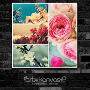 Vintage Turkuaz Çiçekler Kolaj Kanvas Tablo