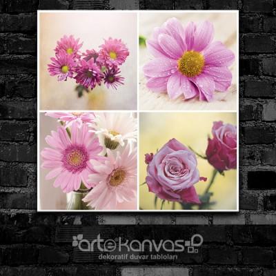 Vintage Purple Çiçekler Kolaj Kanvas Tablo